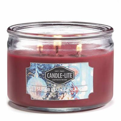 Candle-lite Everyday Collection 3 Wick Terrace Jar Glass Scented Candle 10 oz 283 g - Sugar Plum Garland