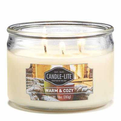 Candle-lite Everyday Collection 3 Wick Terrace Jar Glass Scented Candle 10 oz 283 g - Warm & Cozy