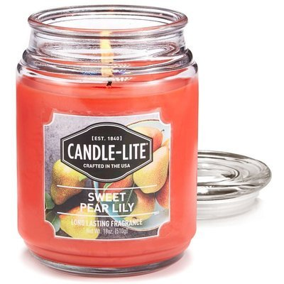 Candle-lite Everyday Collection Large Scented Jar Glass Candle 18 oz 145/100 mm 510 g ~ 110 h – Sweet Pear Lily