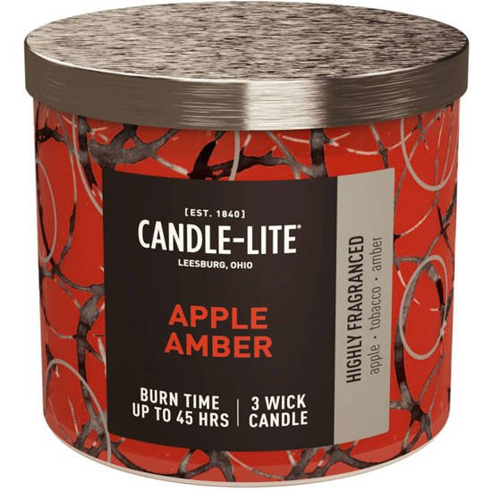 Candle-lite Everyday large scented candle in glass 3 wicks 14 oz 396 g - Apple Amber